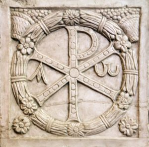 "Chi Rho, formed by superimposing the first two letters of the Greek word ""ΧΡΙΣΤΟΣ"" (Christos)"