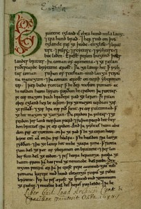 Anglo-Saxon Chronicle: the first page of the Peterborough Chronicle