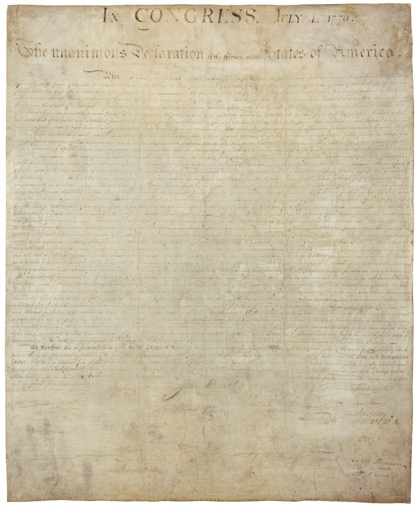 Image of the actual Declaration of Independence of the United States of America.