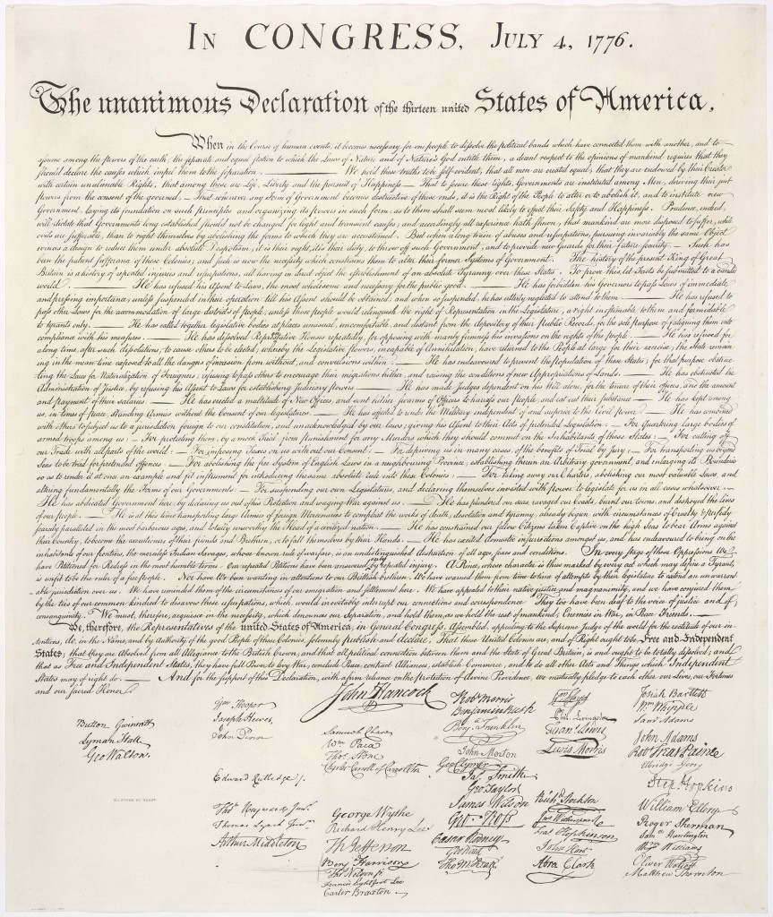 Image of a stone engraving of the Declaration of Independence of the United States of America.
