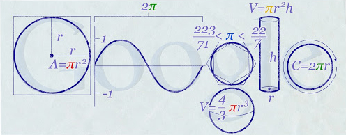 Google's doodle on Pi Day, March 14, 2010.