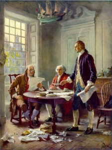 Writing the Declaration of Independence, 1776. Thomas Jefferson (right), Benjamin Franklin (left), and John Adams (center) meet at Jefferson's lodgings, on the corner of Seventh and High (Market) streets in Philadelphia, to review a draft of the Declaration of Independence.
