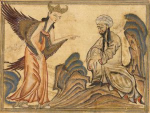 "Mohammed receiving his first revelation from the angel Gabriel. Miniature illustration on vellum from the book Jami' al-Tawarikh (literally ""Compendium of Chronicles""), by Rashid al-Din, published in Tabriz, Persia, 1307 CE."